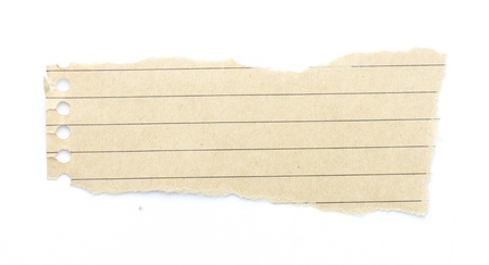 recycling brown lined paper scrap isolated on white Imagens