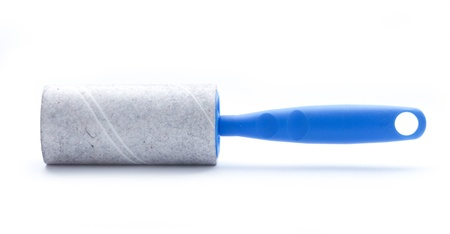 dirty Lint roller close up isolated on white background photo