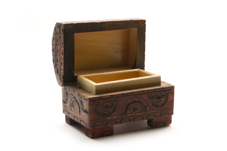 coffer: open incrusted small wooden coffer isolated