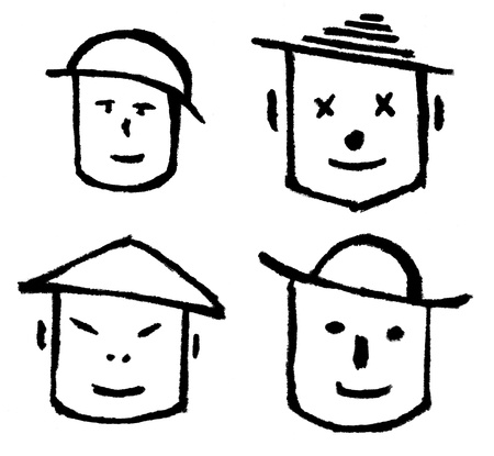 headgear: four ink drawing smiling faces with headgear