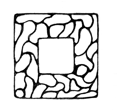 broad: doodle drawing of empty square with broad border  isolated