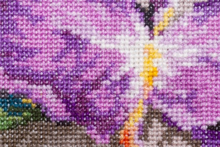 full frame embroidery fabric pattern textured background photo