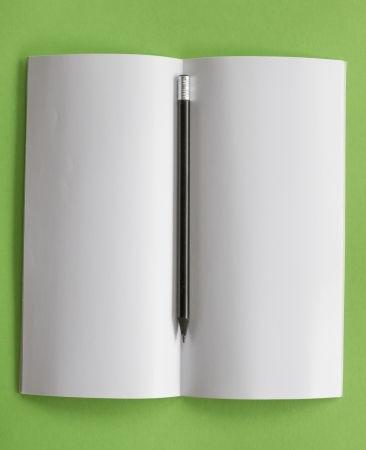 top view of open blank notepad with pencil Stock Photo - 23117623
