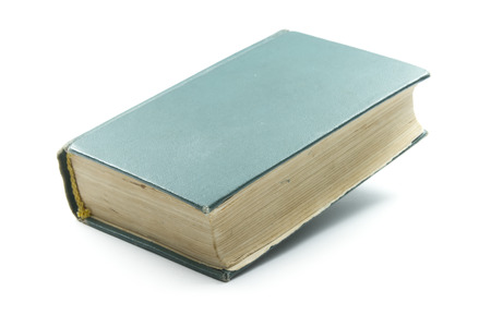 hard cover: old book with green hard cover isolated on white background