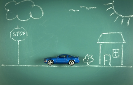 conceptual car house landscape drawing chalkboard photo