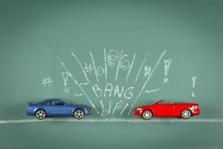 conceptual car collison composite drawing chalkboard photo