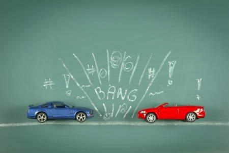 conceptual car collison composite drawing chalkboard