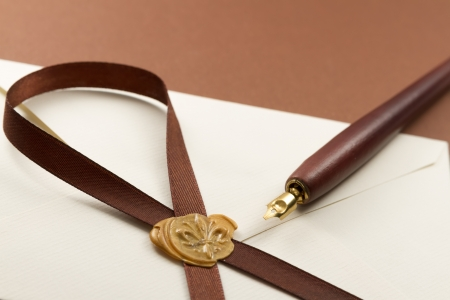 vintage pen sealing wax ribbon envelope wallpaper