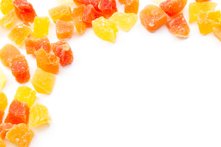 candied: group colorful candied papaya