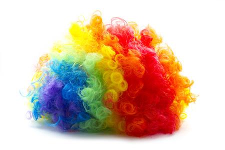 虹色道化師かつらカーリー抽象オブジェクト 写真素材
