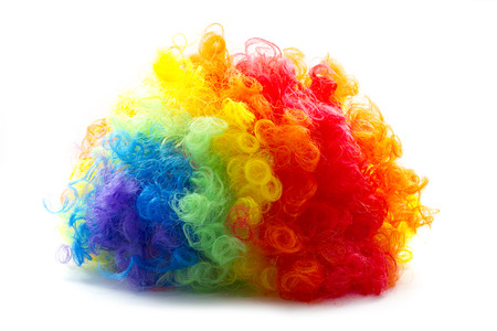 wig: rainbow color clown wig curly abstract object
