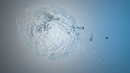 outbreak: exploded outbreak glass sphere with volumetric light on gradient background