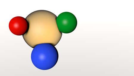 collide: isolated flex molecule collide with multicolor sphere Stock Photo