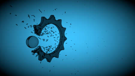 glass break: concept glass cogwheel break with sphere on background with shadow Stock Photo
