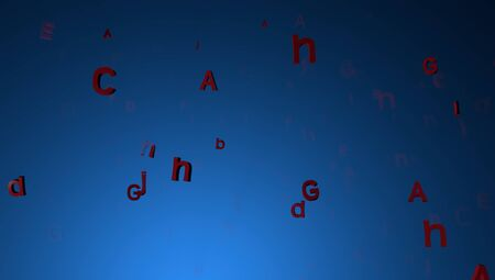 mix letters on gradient background with backlight