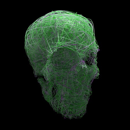 kink: ray bounce stylized human skull isolated on black background