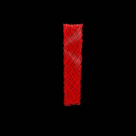 l dynamic: red stylized woven ray bounce character isolated on black background