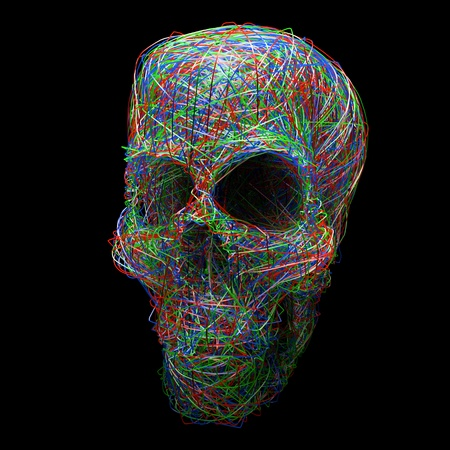 ray bounce stylized human skull isolated on black background