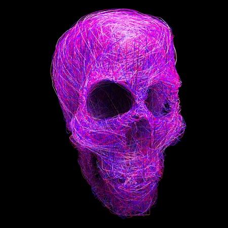 horrific: ray bounce stylized human skull isolated on black background