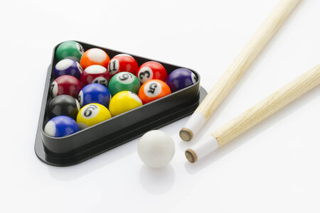 snooker balls: sport snooker balls with cues laying on white reflective background