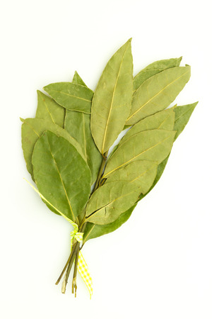 top view isolated on white background bunch of dry bay leaf Stock Photo
