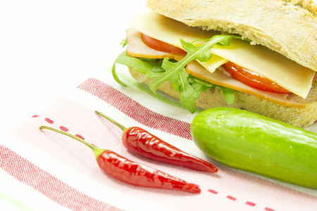 garnish: healthy sandwich with vegetable and garnish on cloth Stock Photo