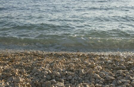 waves  pebble: view at emptz pebble Adriatic beach with small waves