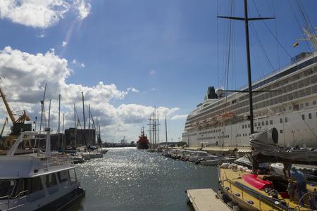 KLAIPEDA, LITHUANIA - AUGUST 13, 2015: Cruise liner CRYSTAL SYMPHONY in Klaipeda harbor on August 13, 2015 Klaipeda, Lithuania.
