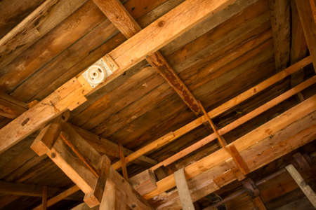 roof framework: inside above view at wooden roof framework
