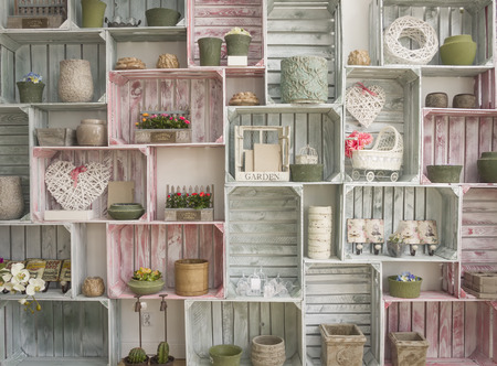wallpaper with hand made shelf wall, vintage wooden painted crate