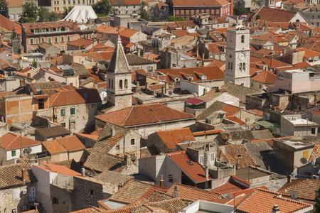 dalmatia: Sibenik old town aerial view, Dalmatia, Croatia Stock Photo