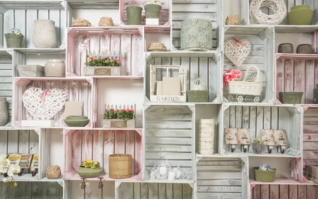 grunge wood: wallpaper with hand made shelf wall, vintage wooden painted crate