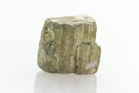 reflective: false gold, pyrite stone isolated on white reflective background Stock Photo