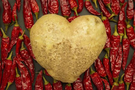 red wallpaper: top view wallpaper with heart shaped potato with red chili group
