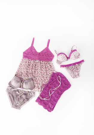 Sexy pink set of lingerie  bra, panties, nightdress  isolated on white background Stock Photo - 17344897