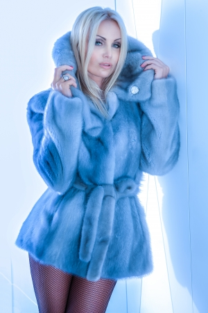 Fashionable blonde beautiful woman posing, wearing fur coat and looking at camera. Imagens