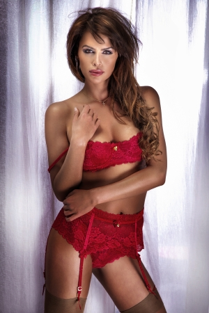 Portrait of a beautiful adult sensuality woman in red lingerie posing. photo
