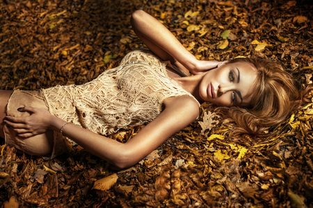 Beauty portrait of young beautiful brunette woman lying on the autumns leafs with perfect makeup. photo