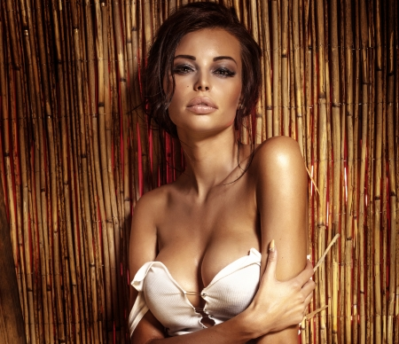 naked breast: Beautiful brunette woman with naked breast looking at camera.