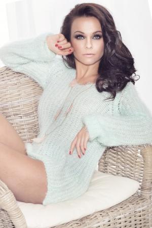 Portrait of beautiful brunette woman photo