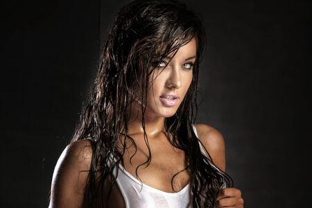 Portrait of attractive brunette beauty photo