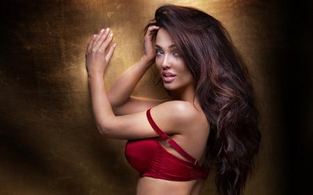 Mujer morena sexy posando en ropa interior elegante, mirando a la cámara. Chica con cuerpo perfecto. Foto de archivo