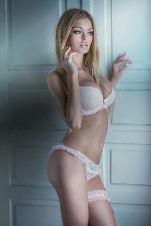 nude body: Sensual beautiful blonde woman posing in sexy lingerie. Girl with perfect body. Stock Photo