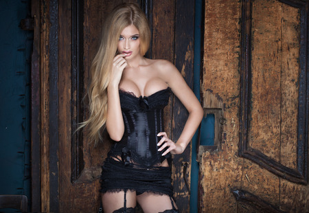 Sexy blonde woman posing in erotic lingerie, looking at camera. Vintage style. Stock Photo
