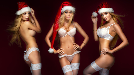 Ideal sexy blonde girls posing in lingerie and santa claus hat. Studio shot. Christmas content.