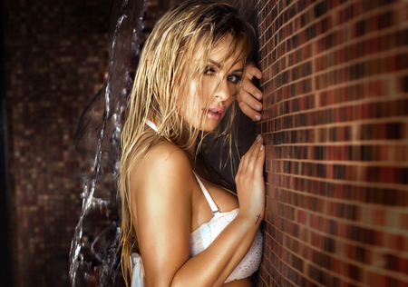 aqua naked: Portrait of wet blonde woman. Sexy girl looking at camera.