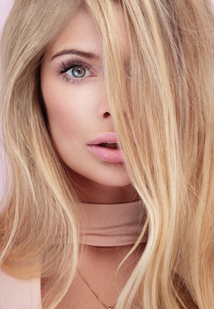ladylike: Beauty closeup portrait of blonde caucasian woman with long hair and light makeup. Stock Photo