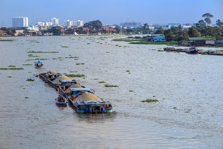 barge: Big barge carry sand in river near Bangkok Thailand Stock Photo