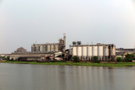 water hyacinth: Factory and silo near the river with Water Hyacinth
