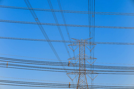 isolator: Electricity tower and electric line, power line in blue sky background